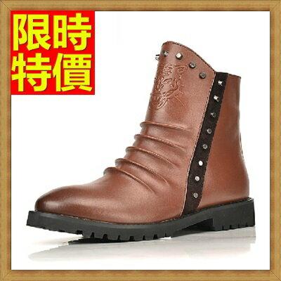 ~馬丁靴 男鞋子~真皮英倫復古鉚釘男中筒靴子2色64h73~義大利 ~~米蘭 ~