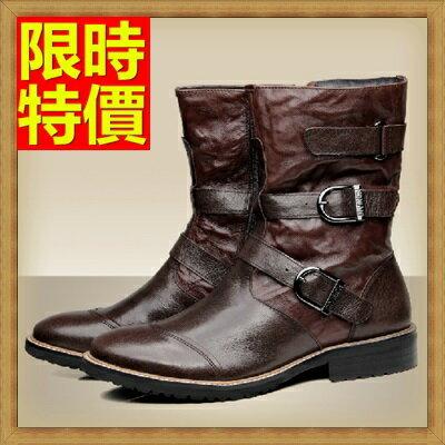 馬丁靴 男鞋子-真皮加絨工裝男中筒靴子2色64h89【義大利進口】【米蘭精品】