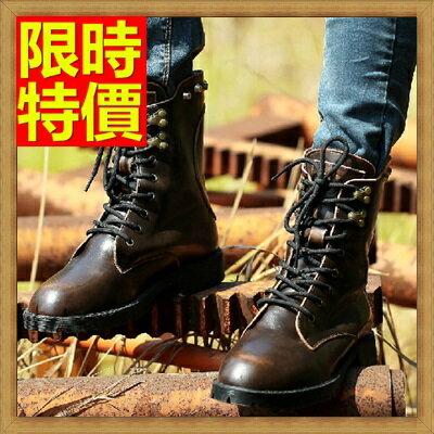 ~馬丁靴 中筒情侶款靴子~真皮保暖工裝男女鞋子^(單雙^)4款64h95~義大利 ~~米蘭