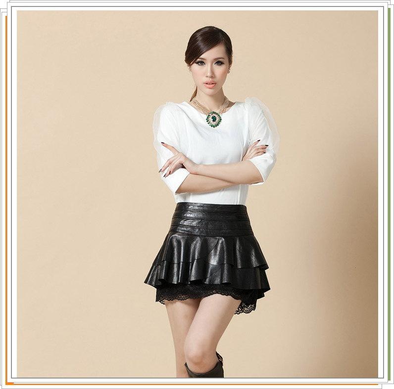 皮裙 真皮短裙-蕾絲流行時尚OL性感羊皮女裙子9a42【俄羅斯進口】【米蘭精品】