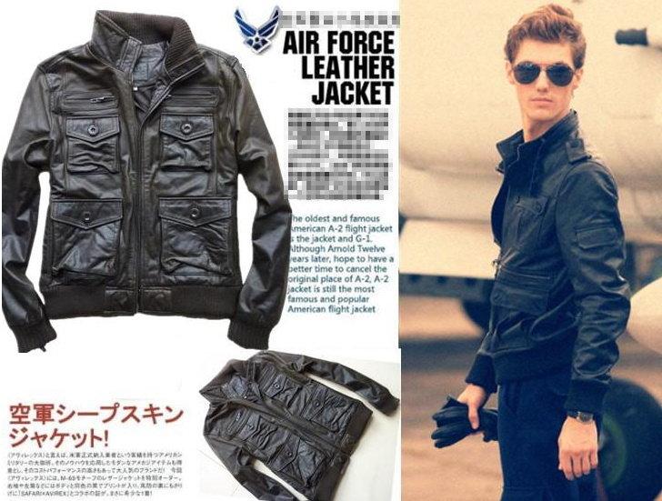 真皮皮衣 男外套-貝克漢同款M65男軍裝夾克aa50【義大利進口】【米蘭精品】