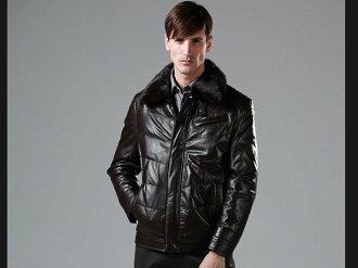 真皮皮衣 羽絨外套-翻領修身時尚做舊男機車夾克lm32【義大利進口】【米蘭精品】