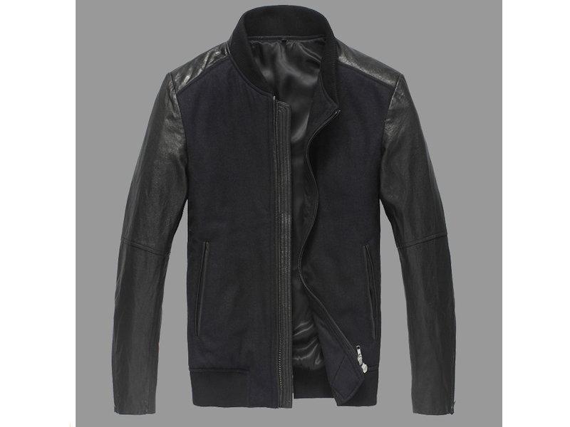 真皮皮衣 男外套-立領修身時尚做舊男機車夾克lm33【義大利進口】【米蘭精品】
