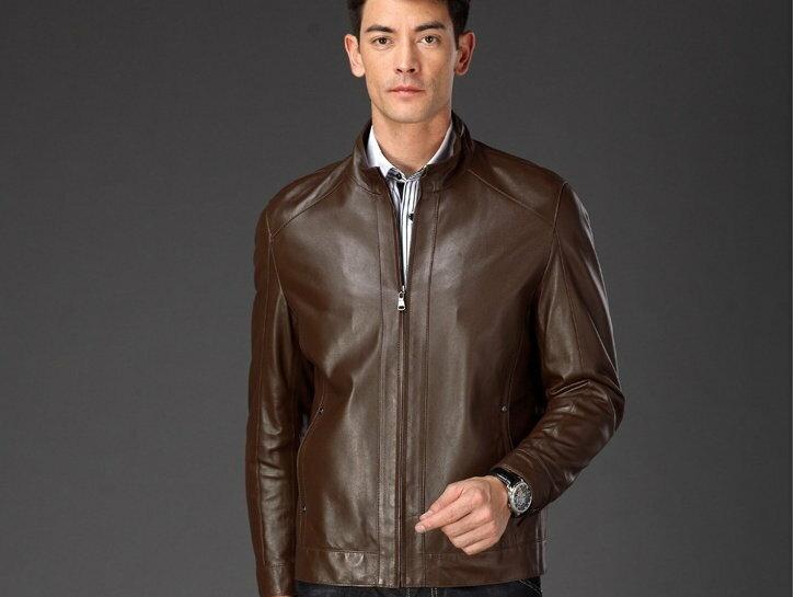真皮皮衣 男外套-立領修身時尚做舊男機車夾克lm45【義大利進口】【米蘭精品】