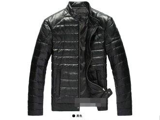 真皮皮衣 羽絨外套-立領修身時尚做舊男機車夾克lm61【義大利進口】【米蘭精品】