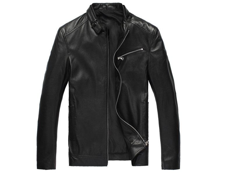 真皮皮衣 男外套-立領修身時尚做舊男機車夾克lm87【義大利進口】【米蘭精品】