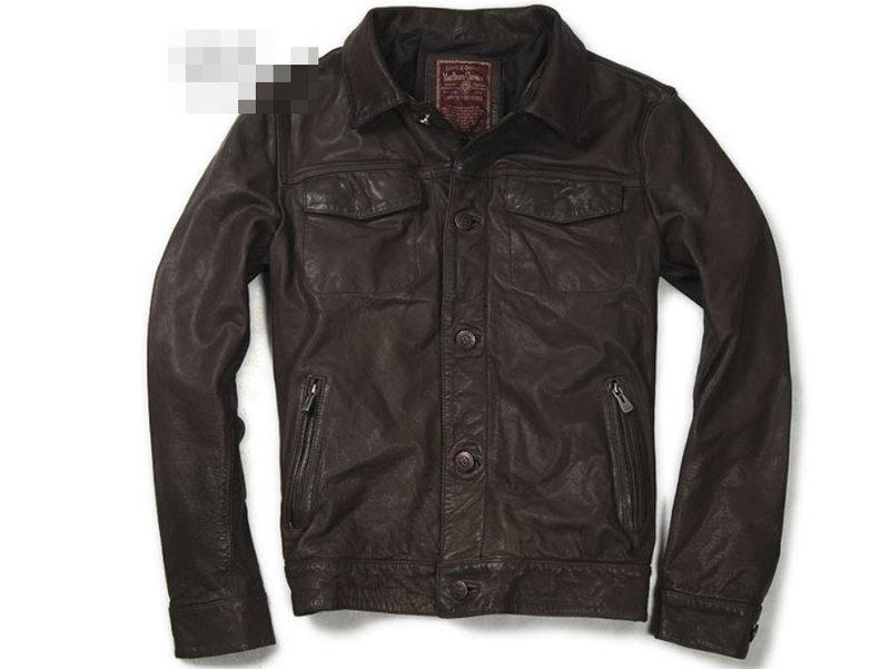 真皮皮衣 男外套-立領修身時尚做舊男機車夾克lm104【義大利進口】【米蘭精品】