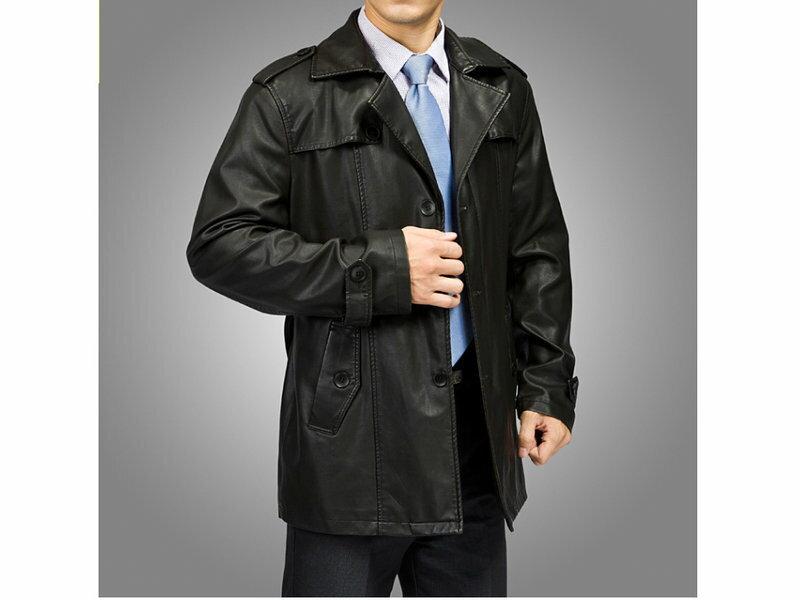 ☆真皮皮衣 男外套-時尚長版保暖風衣外套2色cm100【韓國進口】【米蘭精品】