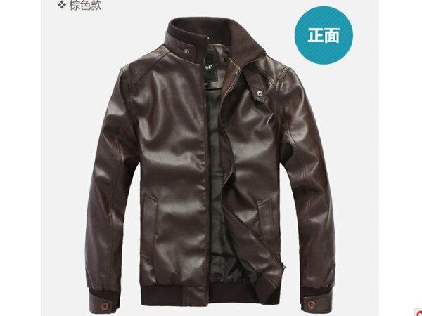 ☆皮衣外套 防風夾克-立領帥氣修身男外套2色cm146【韓國進口】【米蘭精品】