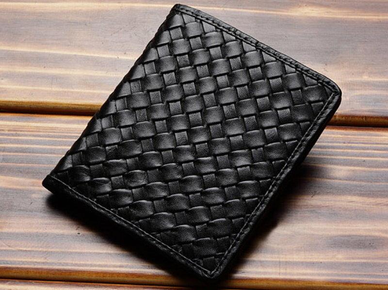 ☆短夾 真皮編織包-流行經典個性男皮夾9b123【義大利進口】【米蘭精品】