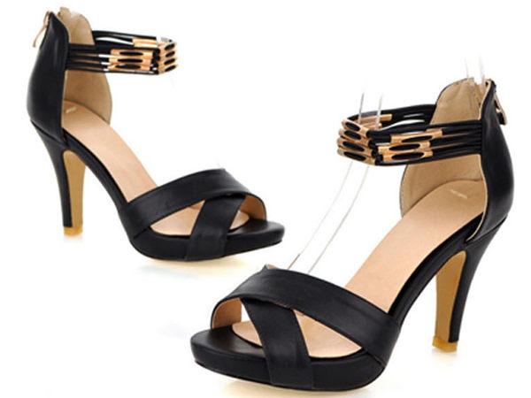 ☆涼鞋高跟休閒鞋-OL時尚氣質典雅女鞋子2色s145【韓國進口】【米蘭精品】