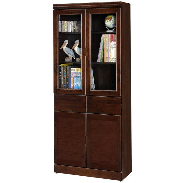 書櫃 有門書櫃 附抽書櫃 大型書櫃 收納櫃 櫥櫃 展示櫃 置物櫃 收納櫃《Yostyle》歐文胡桃中抽書櫃