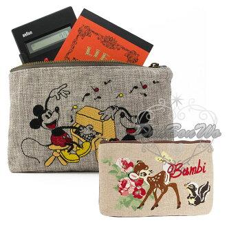 迪士尼收納化妝包筆袋刺繡塌塌米小鹿斑比475271米奇米妮475257海渡