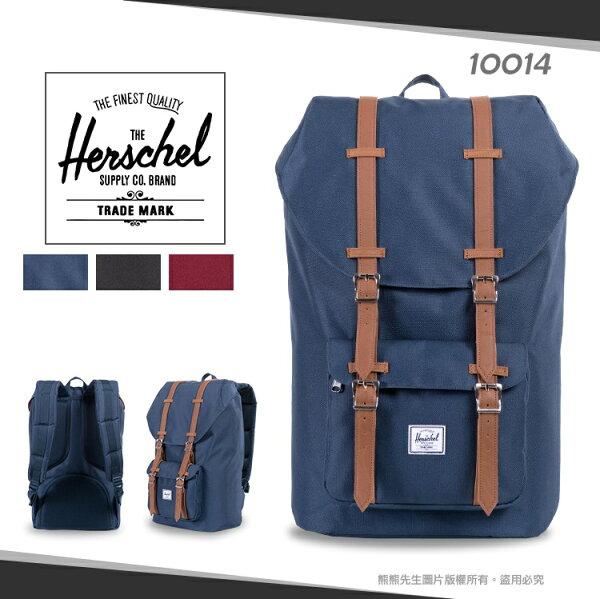 《熊熊先生》Herschel大容量後背包束口休閒雙肩包LITTLEAMERICA透氣寬版背帶15吋電腦包10014帆布書包旅行包