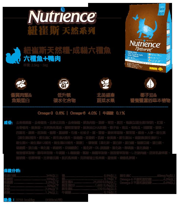 Nutrience《紐崔斯 天然貓系列 成貓 六種魚 200G/200克》
