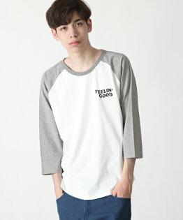 7分袖印花T恤BWHITE×MGRAY