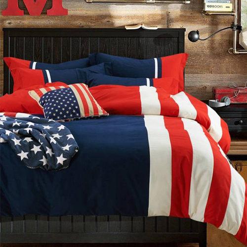 美國隊長 貼布繡 雙人四件式 鋪棉兩用被床包組/ 哇哇購