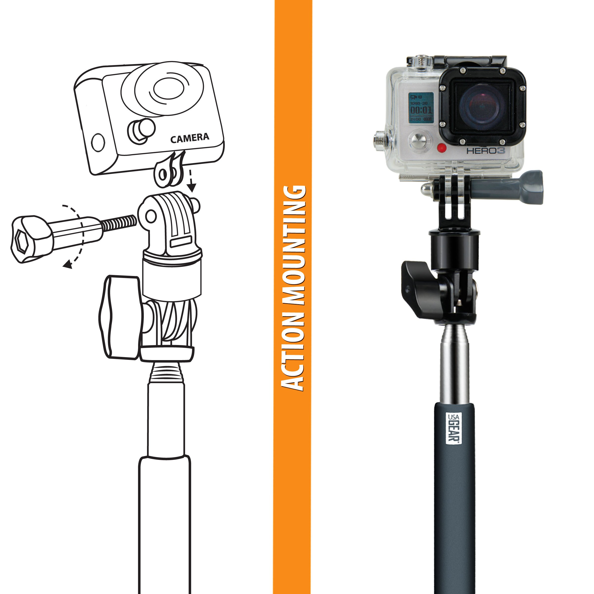 USA Gear Telescopic Monopod with Hand Grip and 180-Degree Swivel Mount for GoPro & More Action Cams 6