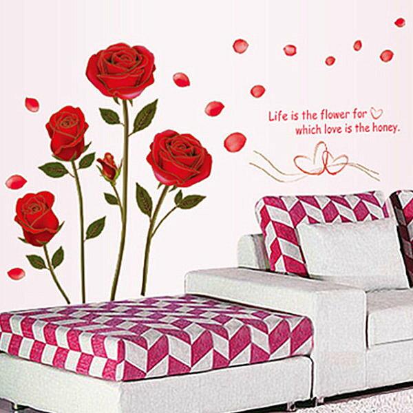 BO雜貨:BO雜貨【YV4166】創意可移動壁貼牆貼背景貼時尚組合壁貼金邊玫瑰花
