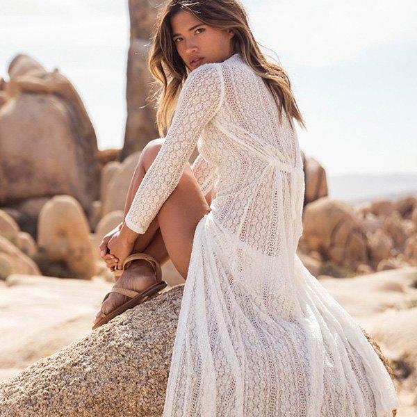 罩衫蕾絲緹花長裙開襟長袖沙灘比基尼罩衫【ZS199】BOBI0426