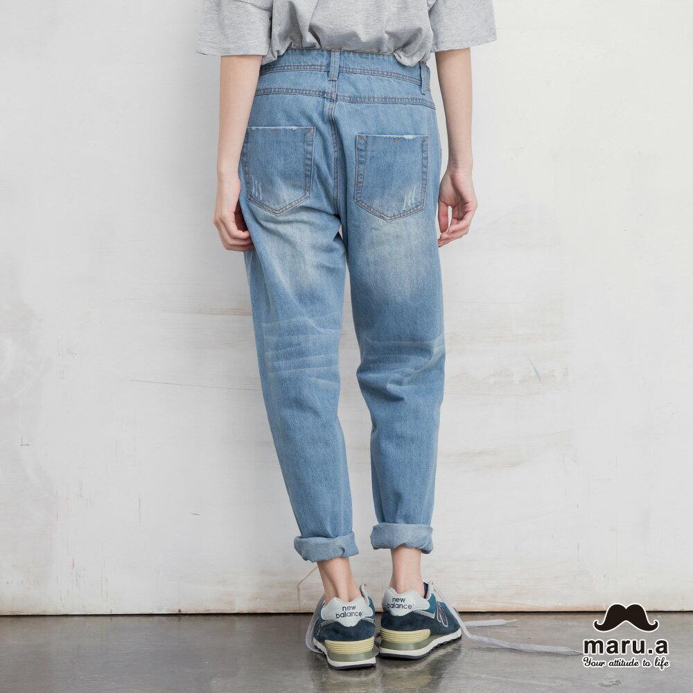 【maru.a】破壞感格紋補丁九分牛仔褲(2色)7915216 1