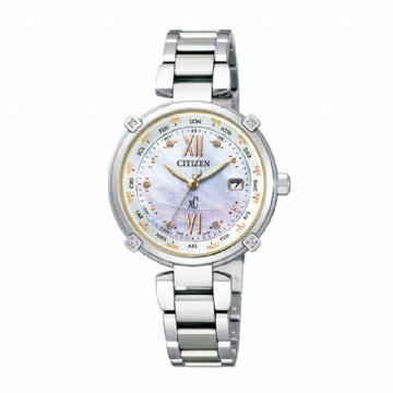 CITIZEN 限量天然鑽石白蝶貝面板Duratect電波時計光動能錶款/EC1050-61W