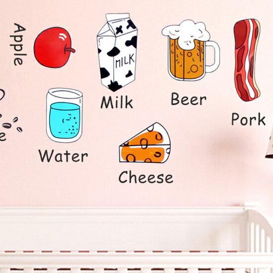 ?MY COLOR?水果食物裝飾貼紙 卡通 冰箱 廚房 櫥櫃 牆貼 兒童 英文 字母 學習 窗戶【L118-2】