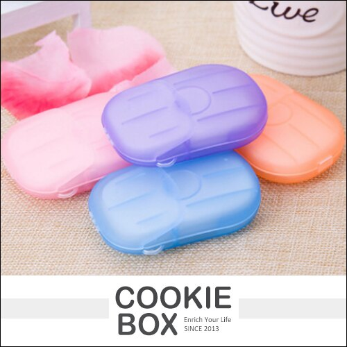 創意 家居 20片裝 香皂紙 洗手 小皂片(顏色隨機) 清潔 肥皂紙 去汙 衛生 便攜 旅遊 *餅乾盒子*
