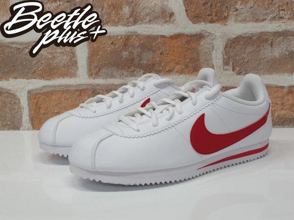 女生 BEETLE PLUS 現貨 NIKE CORTEZ (GS) 阿甘鞋 慢跑鞋 全白紅勾 白紅 復古 749482-103 D-586 1