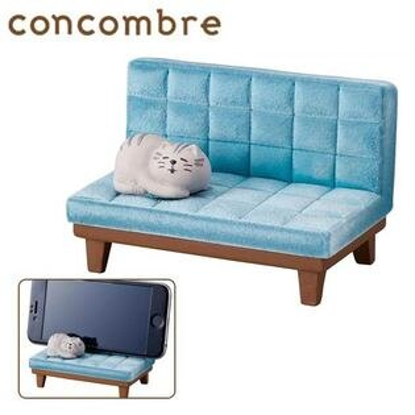 藍色款【日本正版】貓咪沙發造型手機架手機座手機支架concombreDECOLE-376136