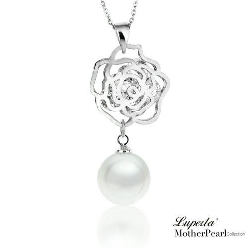 南洋貝寶珠晶鑽項鍊 璀璨玫瑰