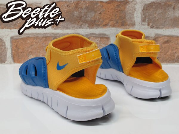 小童 BEETLE NIKE FREE DYNAMO BREEZE PS 藍黃 膠鞋 涼鞋 休閒 童鞋 2
