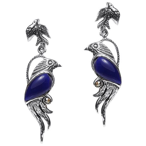 Mythical Phoenix Bird Blue Lapis Wing Marcasite .925 Silver Earrings 0