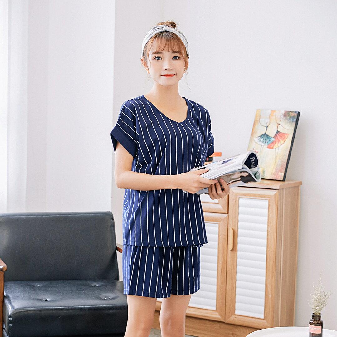 小清新流行居家服 純棉短袖短褲睡衣 直條紋家居服 休閒套裝 共兩色M-XL【漫時光】(87041L) 1