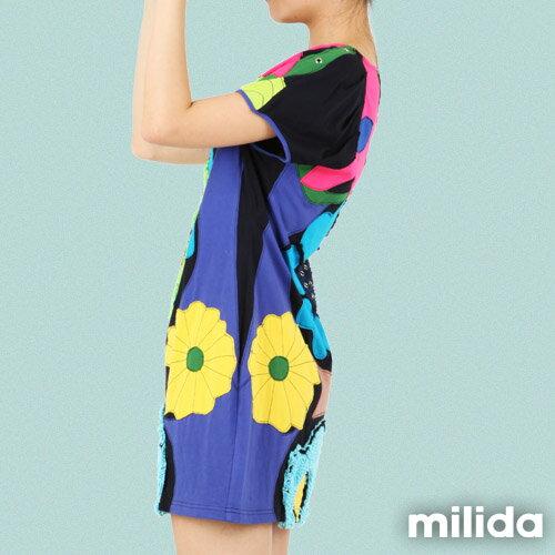 【Milida,全店七折免運】-夏季尾聲-一字領-造型花朵洋裝 1
