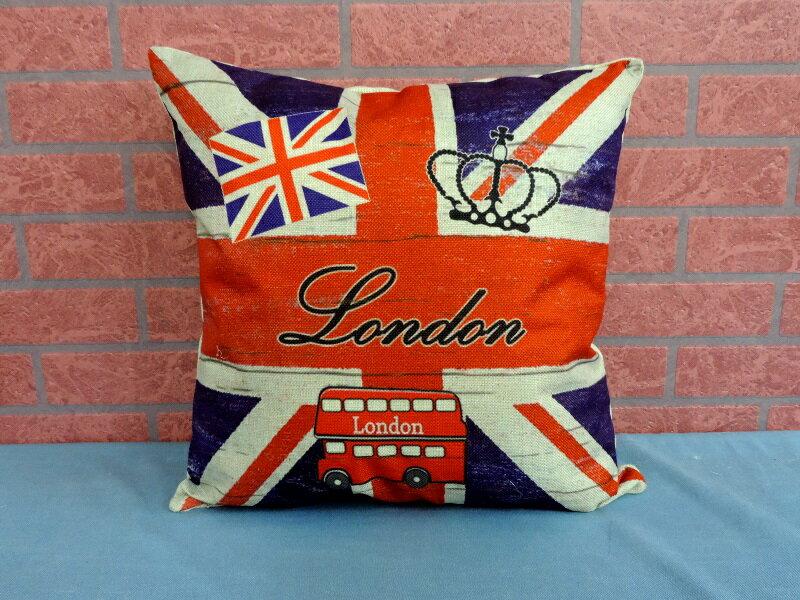 45X45棉麻沙發靠墊《LS18》另有英倫風英國國旗棉麻抱枕 車用靠枕 含枕心 居家布置◤彩虹森林◥