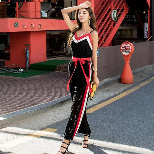 PS Mall 修身 連身褲 蕾絲拼接含腰帶顯瘦吊帶連身褲~T1229~