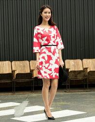 【JL JOCELIN】七分寬袖印花洋裝-紅白蝴蝶