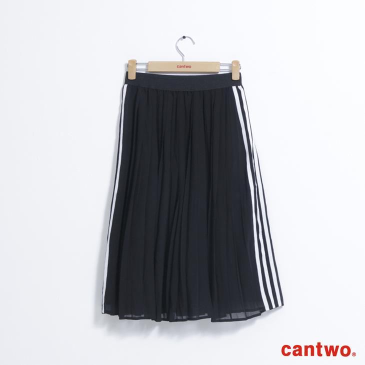 cantwo運動風側條百褶裙(共二色) 5