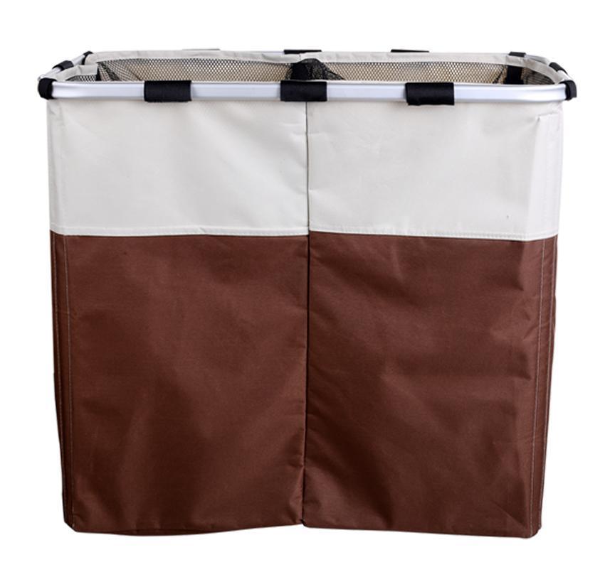 Foldable 2 Sections Laundry Basket Double Washing Storage 1