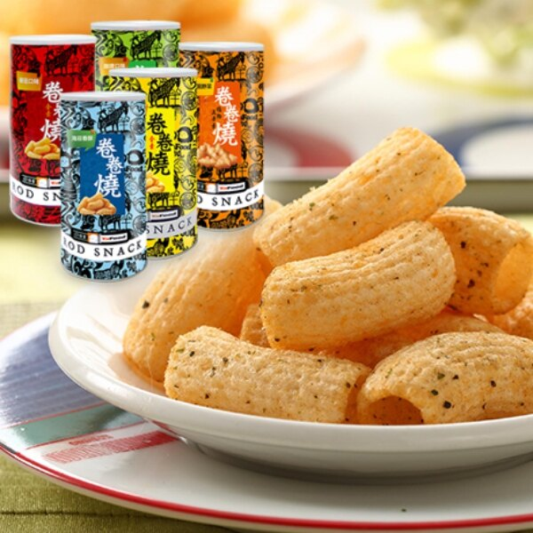 泰國零食 雅富卷卷燒(1罐)(番茄/田園野菜/海苔/玉米/咖哩)