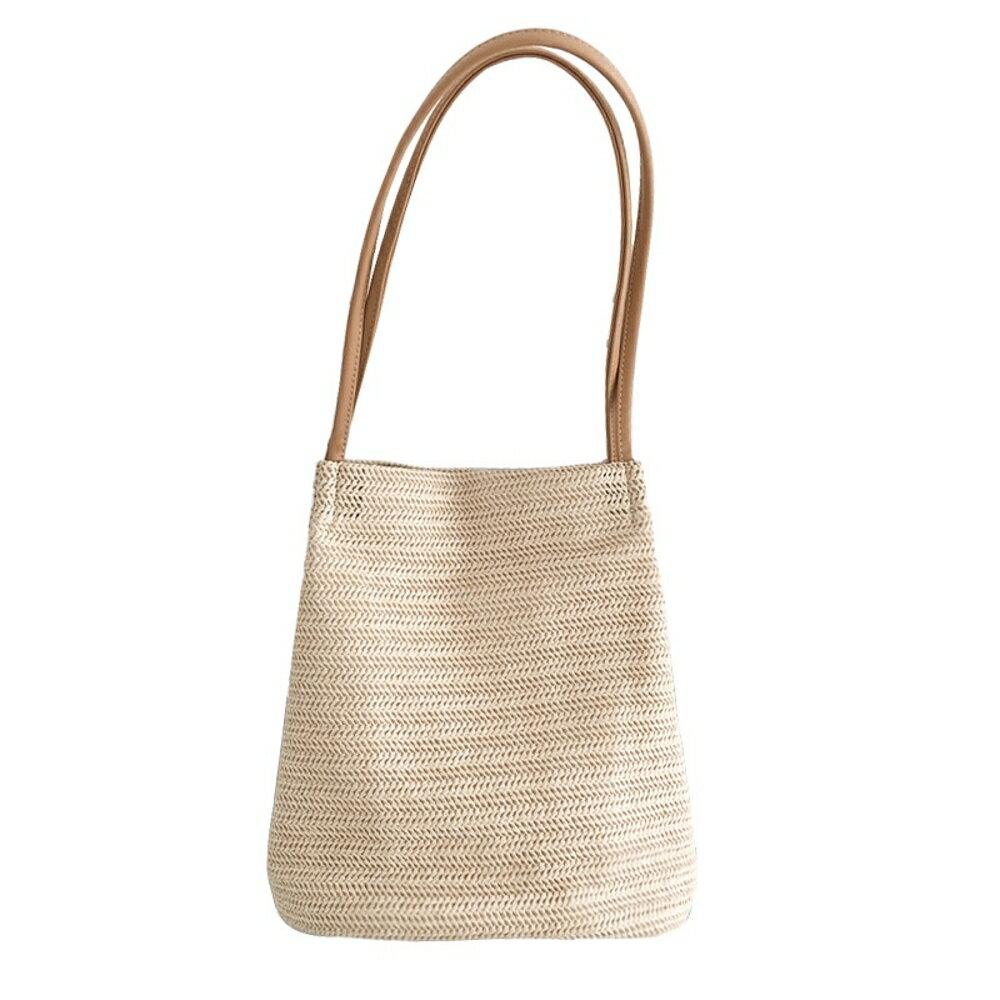 草編包百搭女包休閒草編織側背水桶包夏季百搭手提女包 清涼一夏钜惠