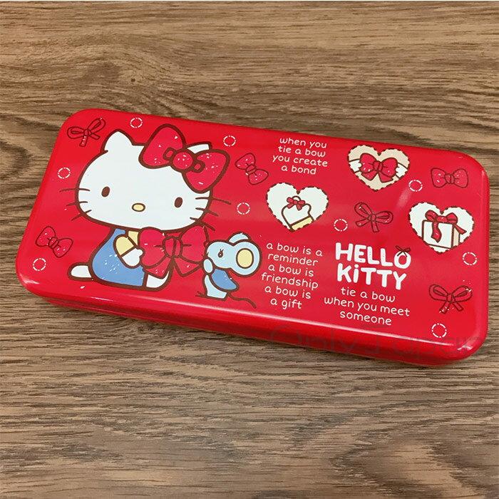 【真愛日本】17122600014 雙層超大鐵筆盒-KT蝴蝶結 三麗鷗 kitty 凱蒂貓 鉛筆盒 鐵製