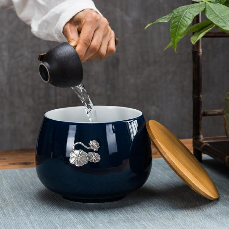 茶渣缸茶洗家用茶洗帶蓋茶缽復古建水缽型茶渣桶水孟大號杯水洗陶♠極有家♠