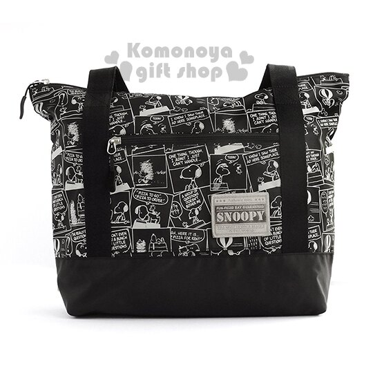 〔小禮堂〕史努比 可折疊側背旅行袋《黑.漫畫》可掛於行李箱桿上 1
