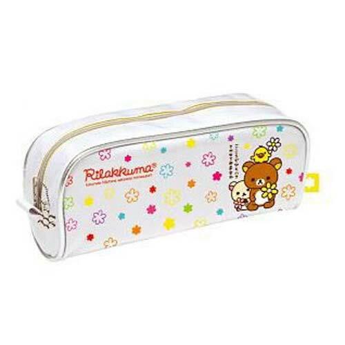 【真愛日本】7072400020懶熊花系列膠面布筆袋 SAN-X 懶熊 奶妹 奶熊 拉拉熊 文具 收納袋 正品 限量 預購