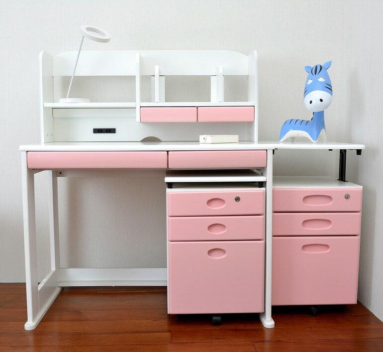 【HYI家居生活館】【HYI家居生活館】日本學生書桌組合(白色+粉色抽頭)-書桌+書棚+矮櫃(JPD0007+JPD0008)《全館免運費》