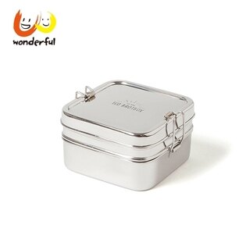 德國ECOBrotbox不鏽鋼雙層扣環便當盒_方形(大)(1400ml)