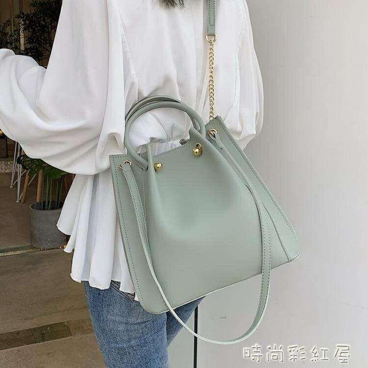 新店五折 韓版大包包女2020新款夏季百搭單肩包時尚洋氣手提大容量水桶包
