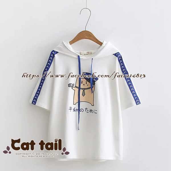 《貓尾巴》TS-0423韓版卡通印花短袖上衣(森林系日系棉麻文青清新)